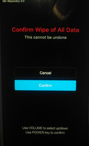 confirm wipe data Redmi Note 3 Pro