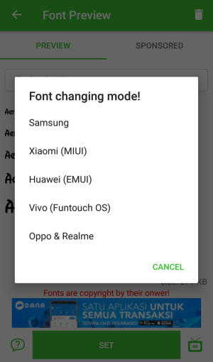 font changing mode vivo